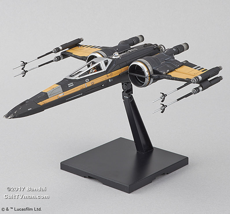 Poe S X Wing In Midi Scale: Poe's Boosted X-Wing Fighter 1:72 Scale Kit From Bandai