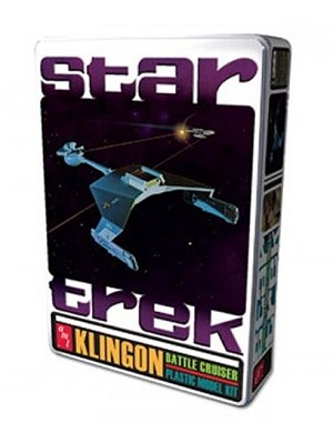 Classic Klingon Battle Cruiser in Collector's Tin from AMT/Round 2 OPEN BOX KIT