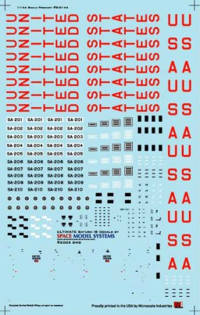 Saturn 1B 1:144 scale decals from Space Model Systems