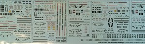 Class 1 Starship decals 1:3788 scale from Starfighter Decals