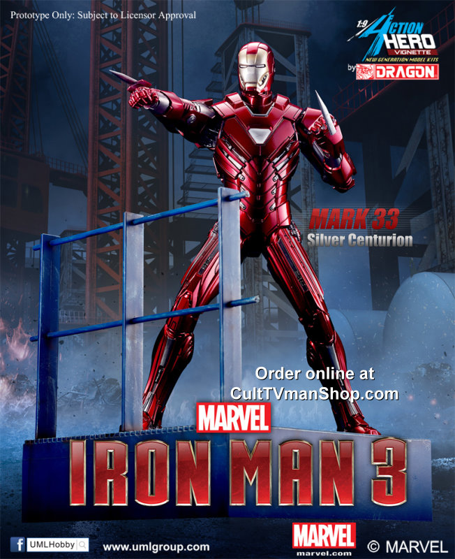 Iron Man  Mk XXXIII - Silver Centurion from Iron Man 3  - 1:9 scale prepainted kit from Dragon
