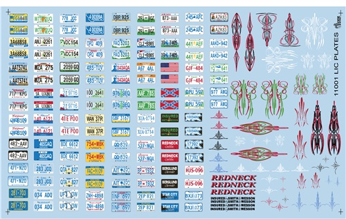 Licence Plate decals 1:25 from Gofer Racing Decals