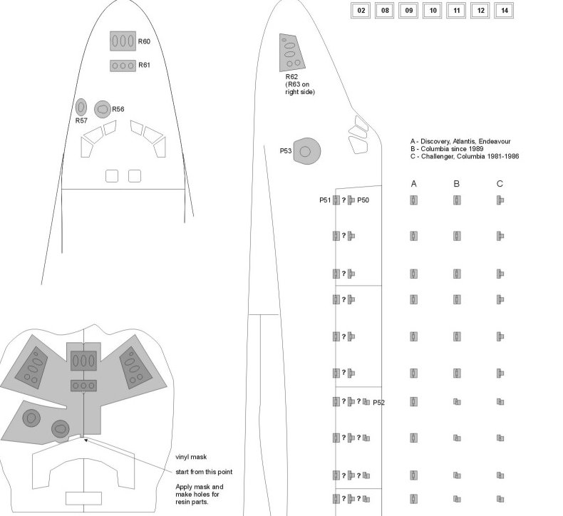 Space Shuttle (Revell) detail set 1/144 from New Ware