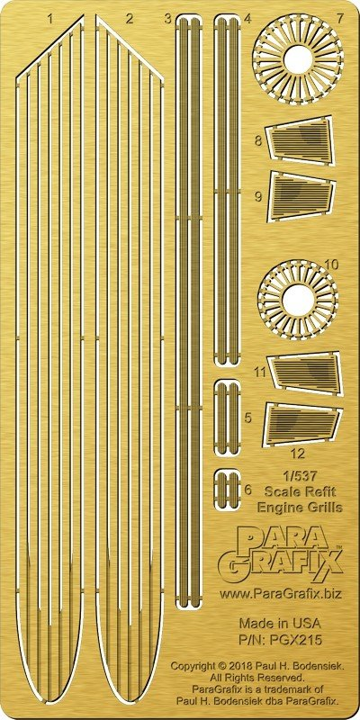 Refit Starship engine grills 1:537 from Paragrafix