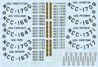 Starship Names & Numbers 1/1000 Scale Decals from JTGraphics