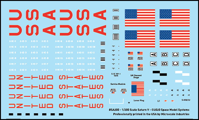 Saturn V 1:200 scale decals from CultTVman/Space Model Systems