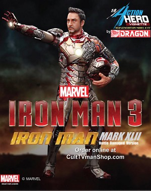 Iron Man Mark XLII Battle Damaged from Iron Man 3 - 1:9 scale prepainted kit from Dragon