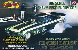 PREORDER Green Elephant Vega Funny Car -  1:16 scale - Revell  reissue from Atlantis - $43.99- PREORDER RESERVATION