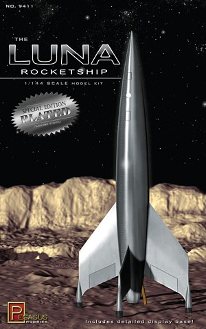 Luna Rocketship 1:144 scale CHROME PLATED finish from Pegasus Hobbies