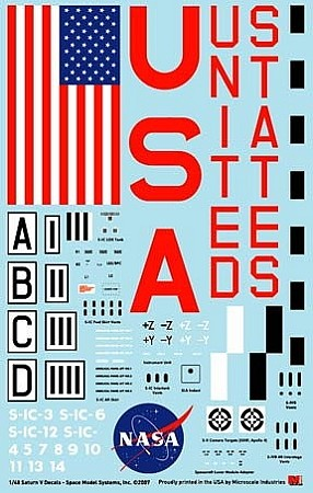 Saturn V 1:48 scale decals from Space Model Systems