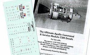 Apollo CSM 1:48 scale decals from Space Model Systems